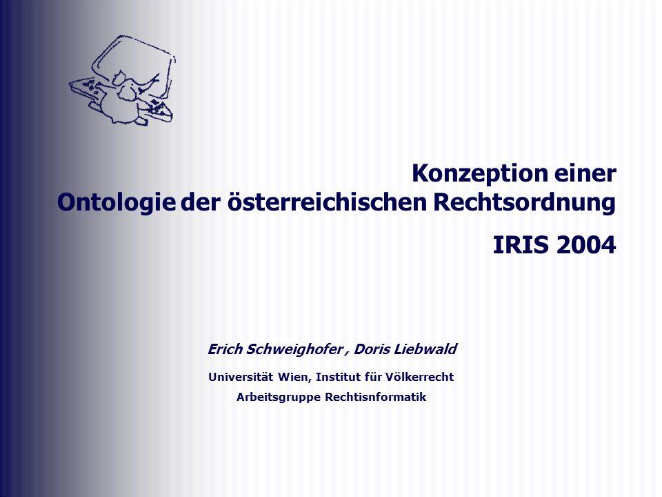 Erich Schweighofer, Doris Liebwald Universität Wien, Institut für Völkerrecht Arbeitsgruppe Rechtisnformatik Konzeption einer Ontologie der österreichischen Rechtsordnung IRIS 2004