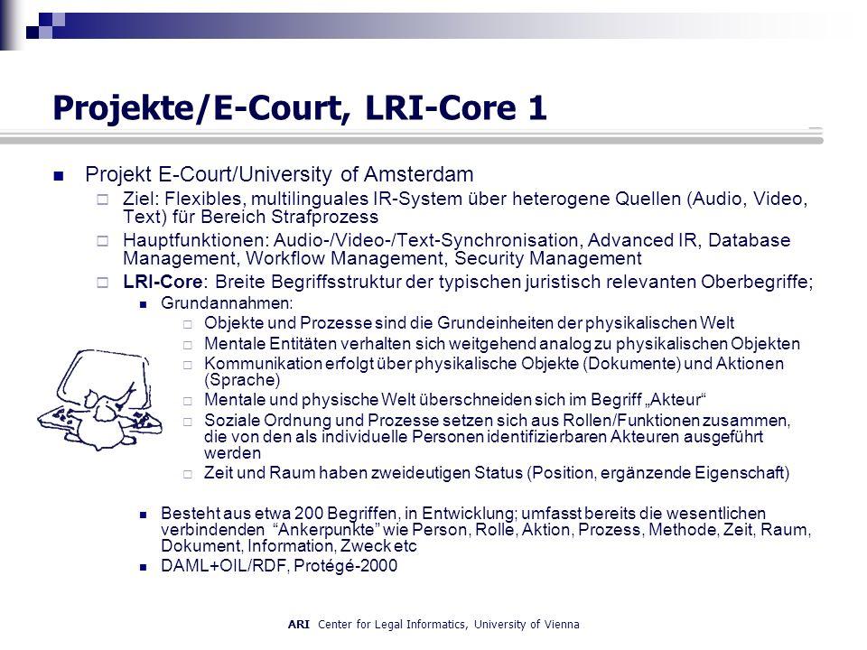 ARI Center for Legal Informatics, University of Vienna Projekte/E-Court, LRI-Core 1 Projekt E-Court/University of Amsterdam Ziel: Flexibles, multilinguales IR-System über heterogene Quellen (Audio, Video, Text) für Bereich Strafprozess Hauptfunktionen: Audio-/Video-/Text-Synchronisation, Advanced IR, Database Management, Workflow Management, Security Management LRI-Core: Breite Begriffsstruktur der typischen juristisch relevanten Oberbegriffe; Grundannahmen: Objekte und Prozesse sind die Grundeinheiten der physikalischen Welt Mentale Entitäten verhalten sich weitgehend analog zu physikalischen Objekten Kommunikation erfolgt über physikalische Objekte (Dokumente) und Aktionen (Sprache) Mentale und physische Welt überschneiden sich im Begriff Akteur Soziale Ordnung und Prozesse setzen sich aus Rollen/Funktionen zusammen, die von den als individuelle Personen identifizierbaren Akteuren ausgeführt werden Zeit und Raum haben zweideutigen Status (Position, ergänzende Eigenschaft) Besteht aus etwa 200 Begriffen, in Entwicklung; umfasst bereits die wesentlichen verbindenden Ankerpunkte wie Person, Rolle, Aktion, Prozess, Methode, Zeit, Raum, Dokument, Information, Zweck etc DAML+OIL/RDF, Protégé-2000