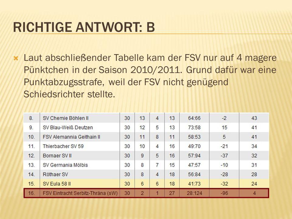 Laut abschließender Tabelle kam der FSV nur auf 4 magere Pünktchen in der Saison 2010/2011. Grund dafür war eine Punktabzugsstrafe, weil der FSV nicht