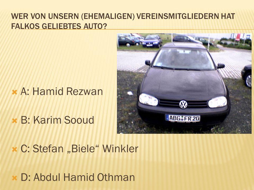 A: Hamid Rezwan B: Karim Sooud C: Stefan Biele Winkler D: Abdul Hamid Othman