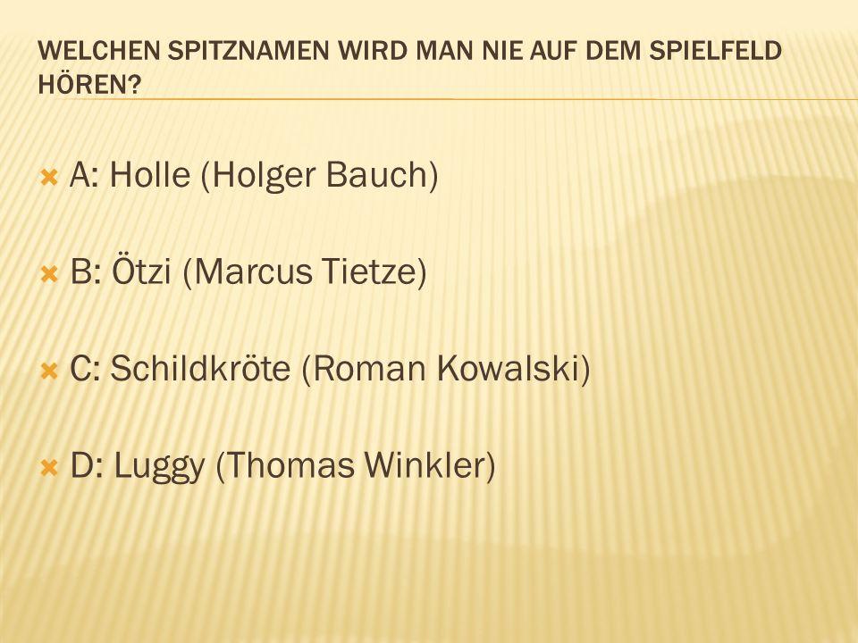 A: Holle (Holger Bauch) B: Ötzi (Marcus Tietze) C: Schildkröte (Roman Kowalski) D: Luggy (Thomas Winkler)