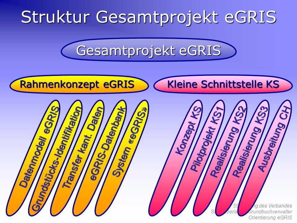 55. Tagung des Verbandes Schweizerischer Grundbuchverwalter Orientierung eGRIS Struktur Gesamtprojekt eGRIS Kleine Schnittstelle KS Rahmenkonzept eGRI