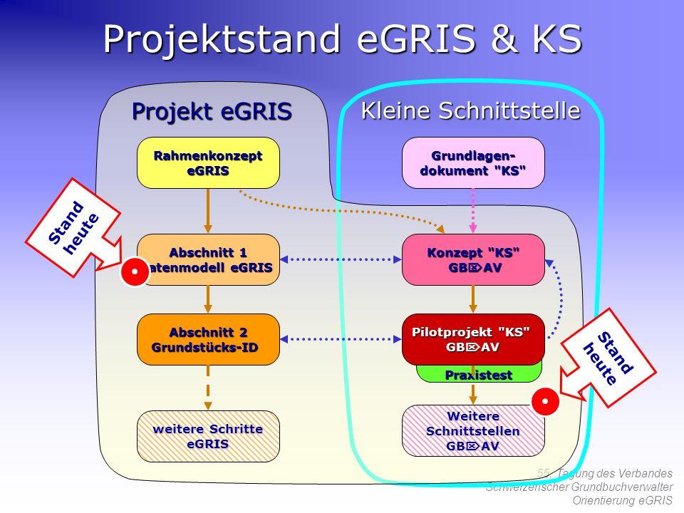 55. Tagung des Verbandes Schweizerischer Grundbuchverwalter Orientierung eGRIS Projekt eGRIS Projektstand eGRIS & KS Abschnitt 1 Datenmodell eGRIS Abs