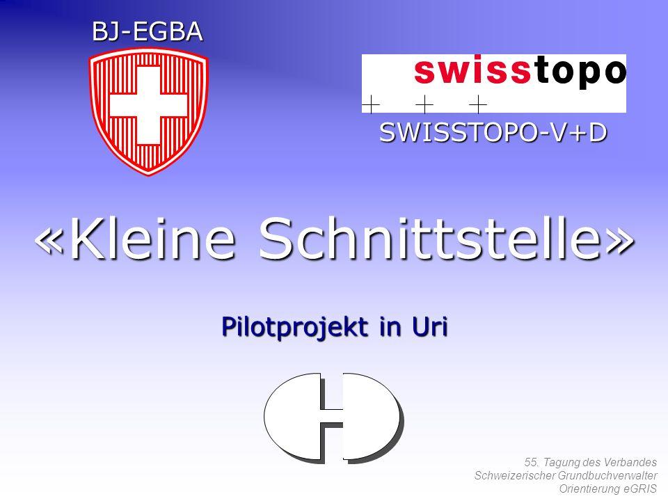 55. Tagung des Verbandes Schweizerischer Grundbuchverwalter Orientierung eGRIS «Kleine Schnittstelle» Pilotprojekt in Uri BJ-EGBA SWISSTOPO-V+D