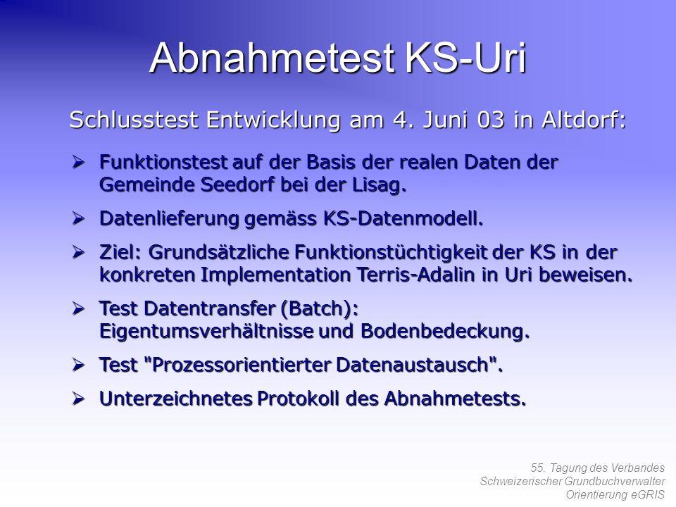 55. Tagung des Verbandes Schweizerischer Grundbuchverwalter Orientierung eGRIS Abnahmetest KS-Uri Schlusstest Entwicklung am 4. Juni 03 in Altdorf: Fu