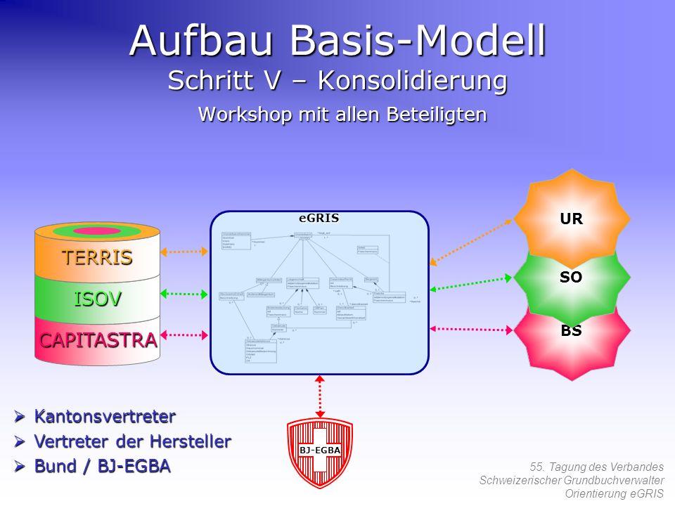 55. Tagung des Verbandes Schweizerischer Grundbuchverwalter Orientierung eGRIS eGRIS eGRIS eGRIS Aufbau Basis-Modell Schritt V – Konsolidierung Worksh