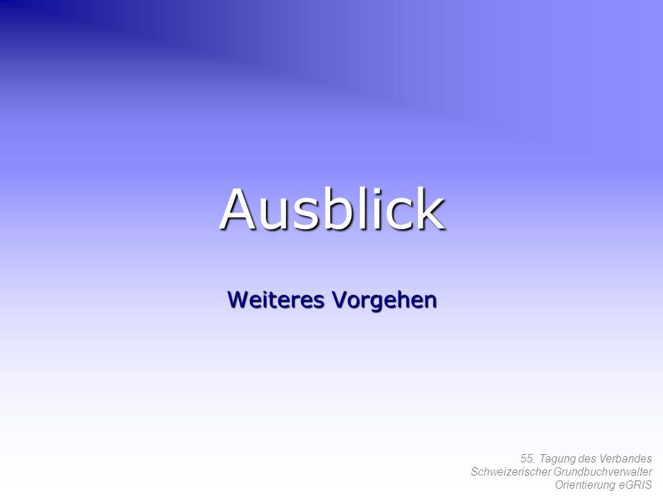 55. Tagung des Verbandes Schweizerischer Grundbuchverwalter Orientierung eGRIS Ausblick Weiteres Vorgehen