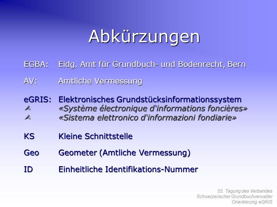 55. Tagung des Verbandes Schweizerischer Grundbuchverwalter Orientierung eGRIS Abkürzungen EGBA:Eidg. Amt für Grundbuch- und Bodenrecht, Bern AV:Amtli