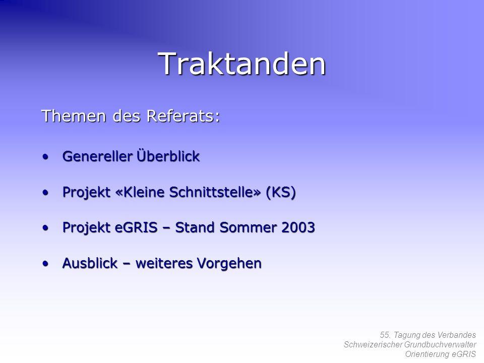 55. Tagung des Verbandes Schweizerischer Grundbuchverwalter Orientierung eGRIS Traktanden Themen des Referats: Genereller ÜberblickGenereller Überblic