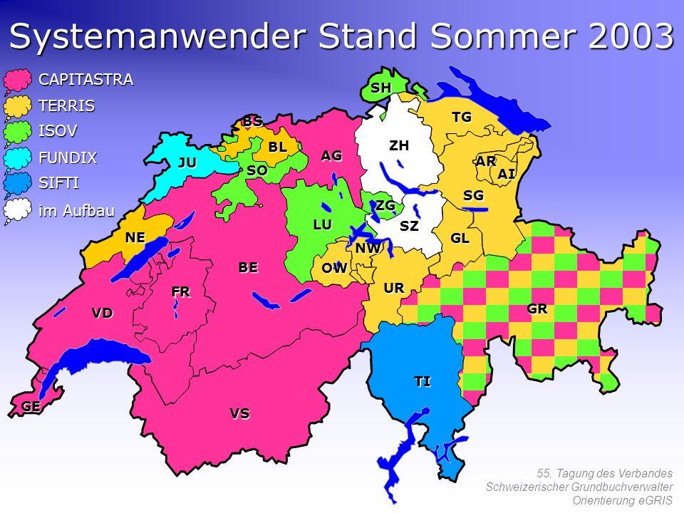 55. Tagung des Verbandes Schweizerischer Grundbuchverwalter Orientierung eGRIS Systemanwender Stand Sommer 2003 CAPITASTRA TERRIS ISOV FUNDIX SIFTI im