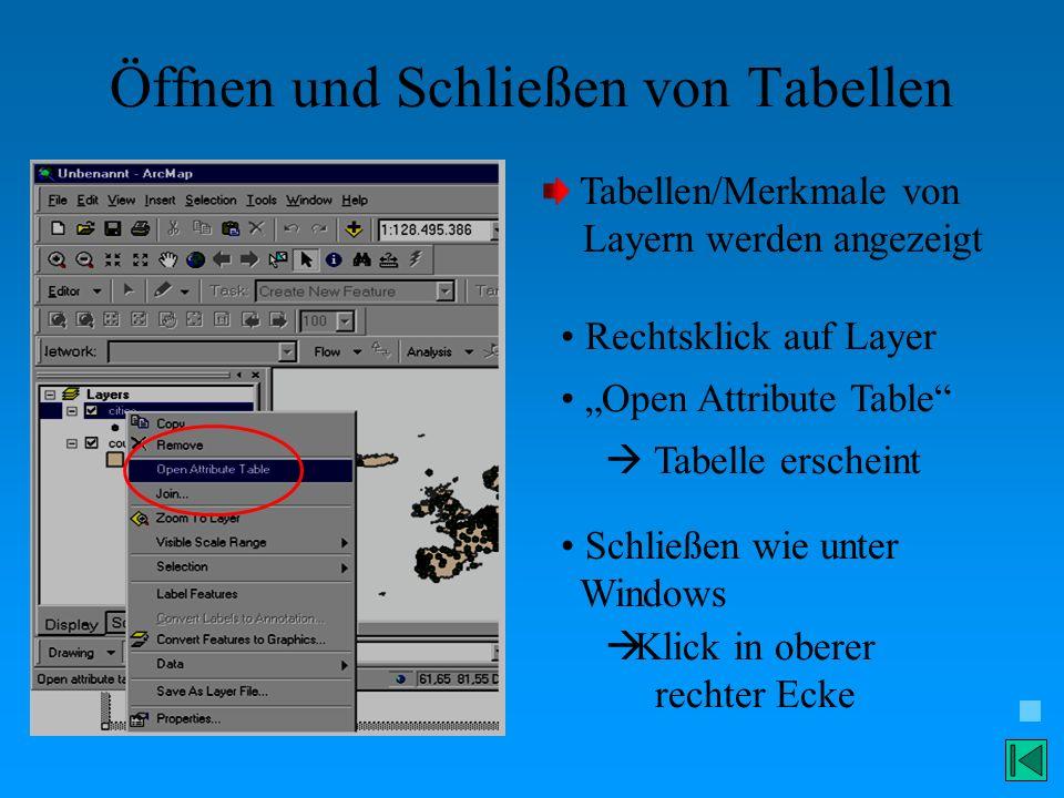 Öffnen und Schließen von Tabellen Tabellen/Merkmale von Layern werden angezeigt Rechtsklick auf Layer Open Attribute Table Tabelle erscheint Schließen