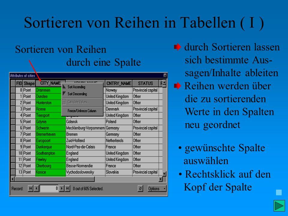 Sortieren von Reihen in Tabellen ( I ) Sortieren von Reihen durch eine Spalte durch Sortieren lassen sich bestimmte Aus- sagen/Inhalte ableiten gewüns