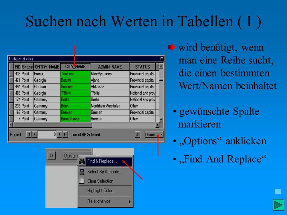 Suchen nach Werten in Tabellen ( I ) wird benötigt, wenn man eine Reihe sucht, die einen bestimmten Wert/Namen beinhaltet gewünschte Spalte markieren