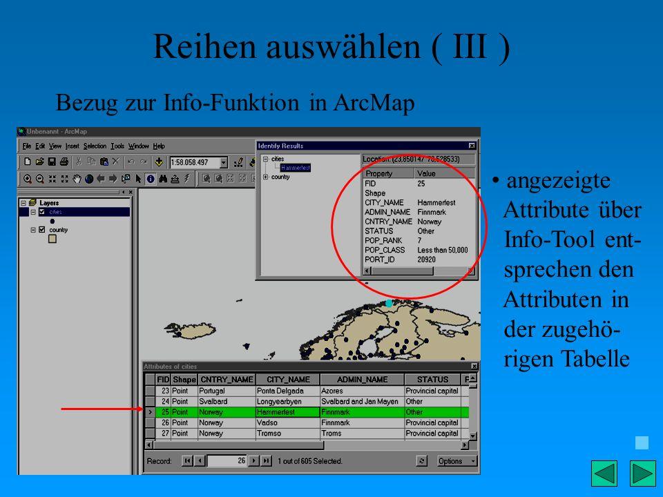 Reihen auswählen ( III ) Bezug zur Info-Funktion in ArcMap angezeigte Attribute über Info-Tool ent- sprechen den Attributen in der zugehö- rigen Tabel