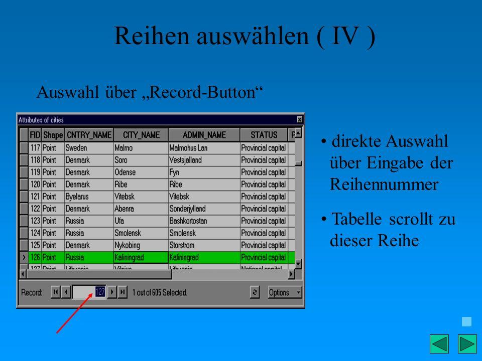 Reihen auswählen ( IV ) Auswahl über Record-Button direkte Auswahl über Eingabe der Reihennummer Tabelle scrollt zu dieser Reihe
