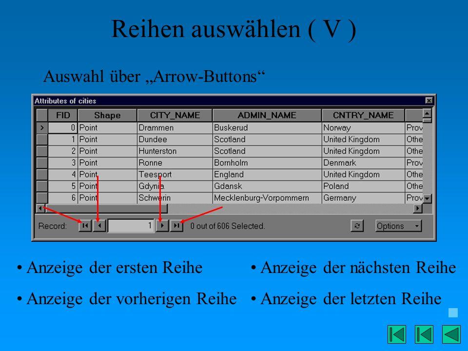 Reihen auswählen ( V ) Auswahl über Arrow-Buttons Anzeige der ersten Reihe Anzeige der vorherigen Reihe Anzeige der nächsten Reihe Anzeige der letzten