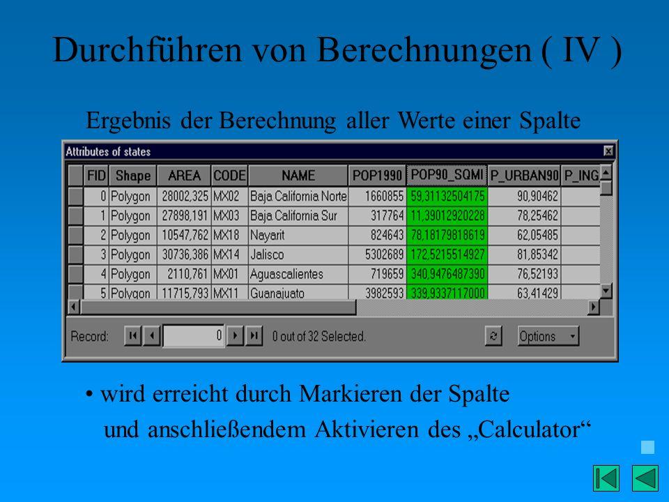 Durchführen von Berechnungen ( IV ) Ergebnis der Berechnung aller Werte einer Spalte wird erreicht durch Markieren der Spalte und anschließendem Aktiv