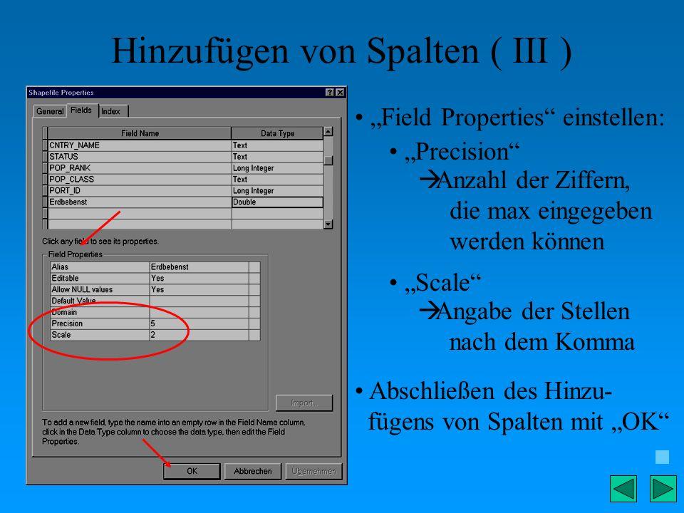 Hinzufügen von Spalten ( III ) Field Properties einstellen: Precision Anzahl der Ziffern, die max eingegeben werden können Scale Angabe der Stellen na