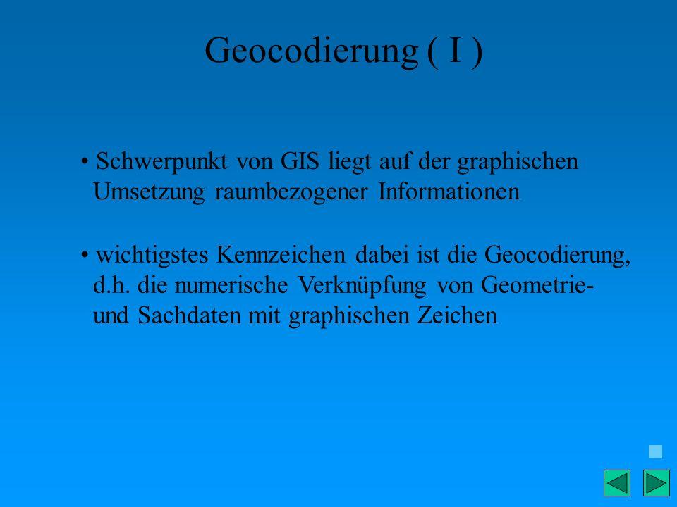 Geocodierung ( I ) Schwerpunkt von GIS liegt auf der graphischen Umsetzung raumbezogener Informationen wichtigstes Kennzeichen dabei ist die Geocodier