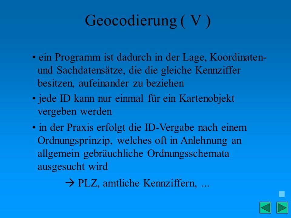 Geocodierung ( V ) ein Programm ist dadurch in der Lage, Koordinaten- und Sachdatensätze, die die gleiche Kennziffer besitzen, aufeinander zu beziehen