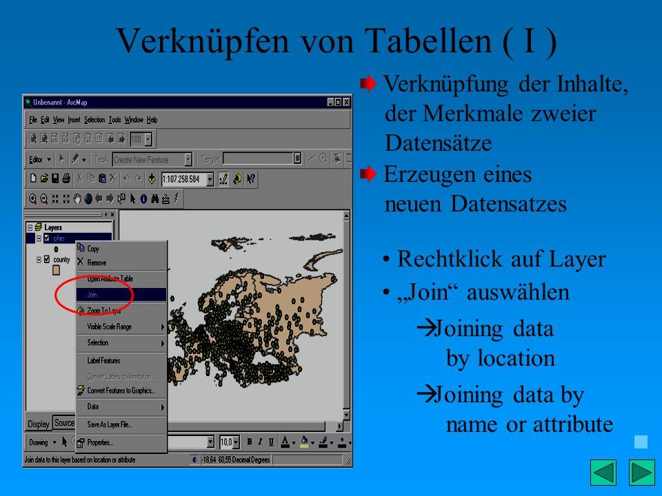 Verknüpfen von Tabellen ( I ) Verknüpfung der Inhalte, der Merkmale zweier Datensätze Erzeugen eines neuen Datensatzes Rechtklick auf Layer Join auswä