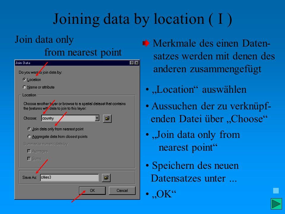 Joining data by location ( I ) Merkmale des einen Daten- satzes werden mit denen des anderen zusammengefügt Location auswählen Aussuchen der zu verknü