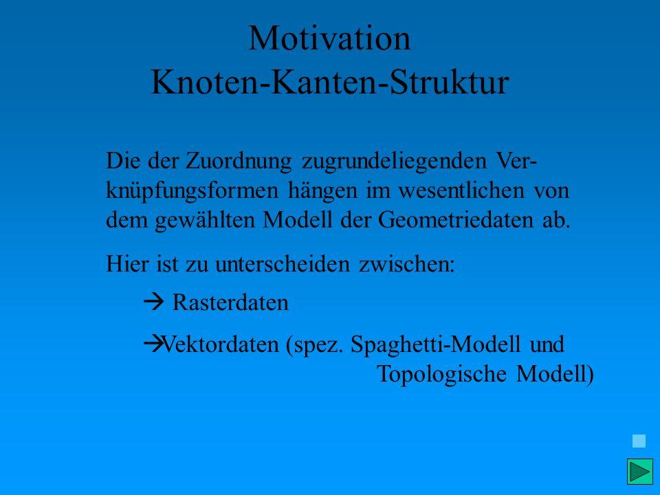 Motivation Knoten-Kanten-Struktur Die der Zuordnung zugrundeliegenden Ver- knüpfungsformen hängen im wesentlichen von dem gewählten Modell der Geometr