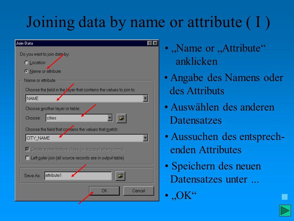 Joining data by name or attribute ( I ) Name or Attribute anklicken Angabe des Namens oder des Attributs Auswählen des anderen Datensatzes Aussuchen d