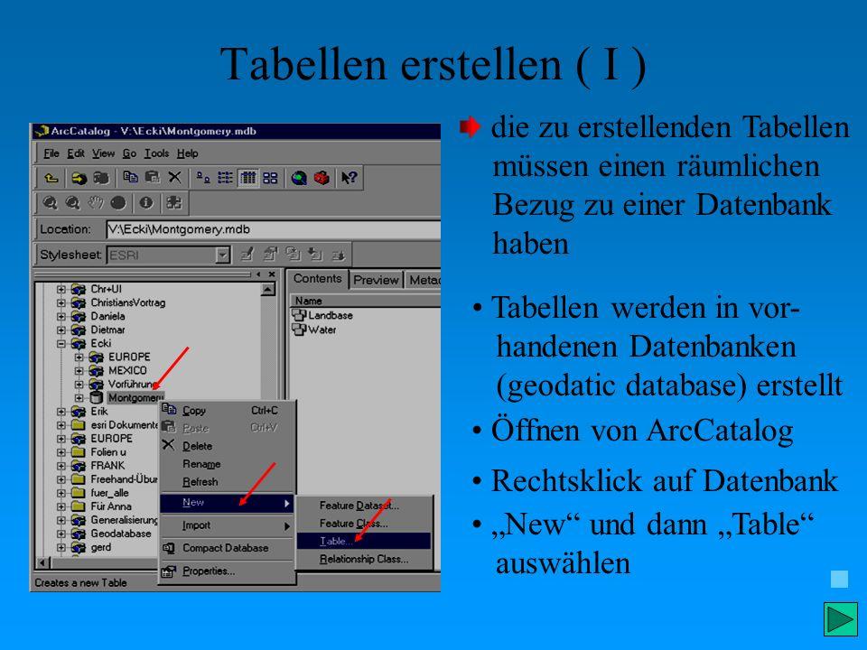 Tabellen erstellen ( I ) Öffnen von ArcCatalog Tabellen werden in vor- handenen Datenbanken (geodatic database) erstellt Rechtsklick auf Datenbank New