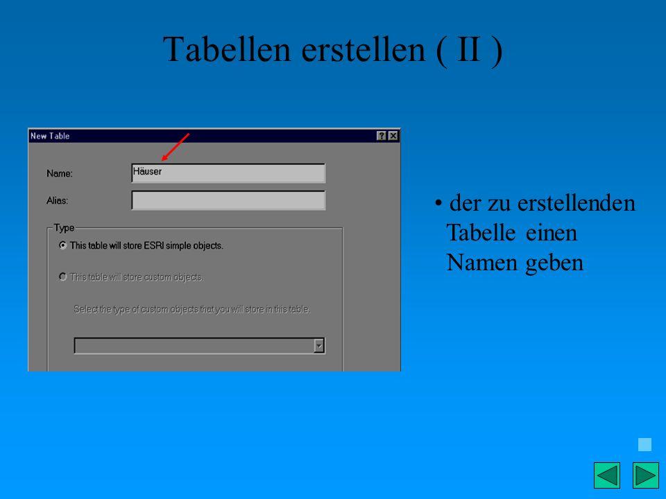 Tabellen erstellen ( II ) der zu erstellenden Tabelle einen Namen geben