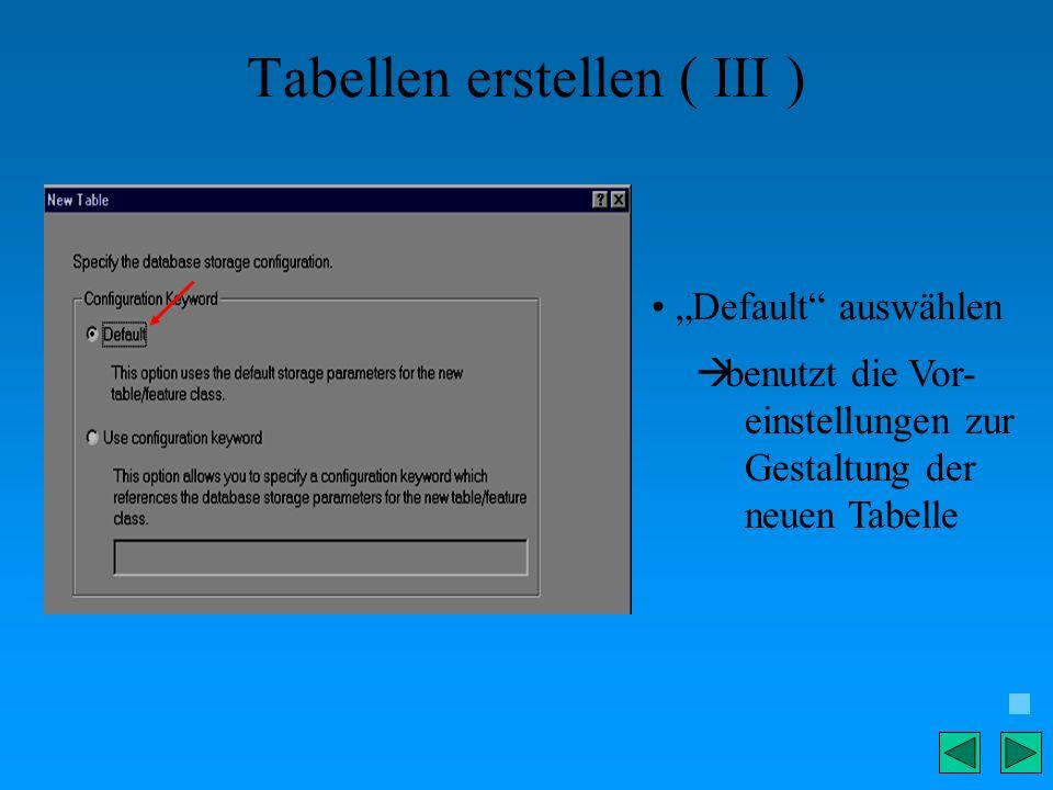Tabellen erstellen ( III ) Default auswählen benutzt die Vor- einstellungen zur Gestaltung der neuen Tabelle