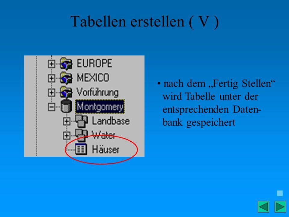 Tabellen erstellen ( V ) nach dem Fertig Stellen wird Tabelle unter der entsprechenden Daten- bank gespeichert