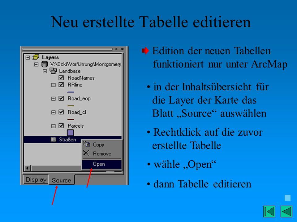 Neu erstellte Tabelle editieren Edition der neuen Tabellen funktioniert nur unter ArcMap in der Inhaltsübersicht für die Layer der Karte das Blatt Sou