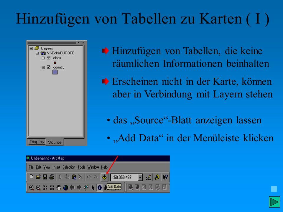 Hinzufügen von Tabellen zu Karten ( I ) Hinzufügen von Tabellen, die keine räumlichen Informationen beinhalten Erscheinen nicht in der Karte, können a