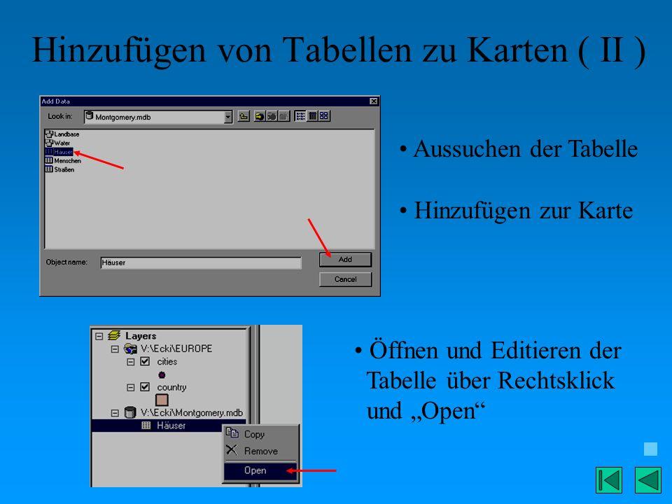 Hinzufügen von Tabellen zu Karten ( II ) Aussuchen der Tabelle Hinzufügen zur Karte Öffnen und Editieren der Tabelle über Rechtsklick und Open