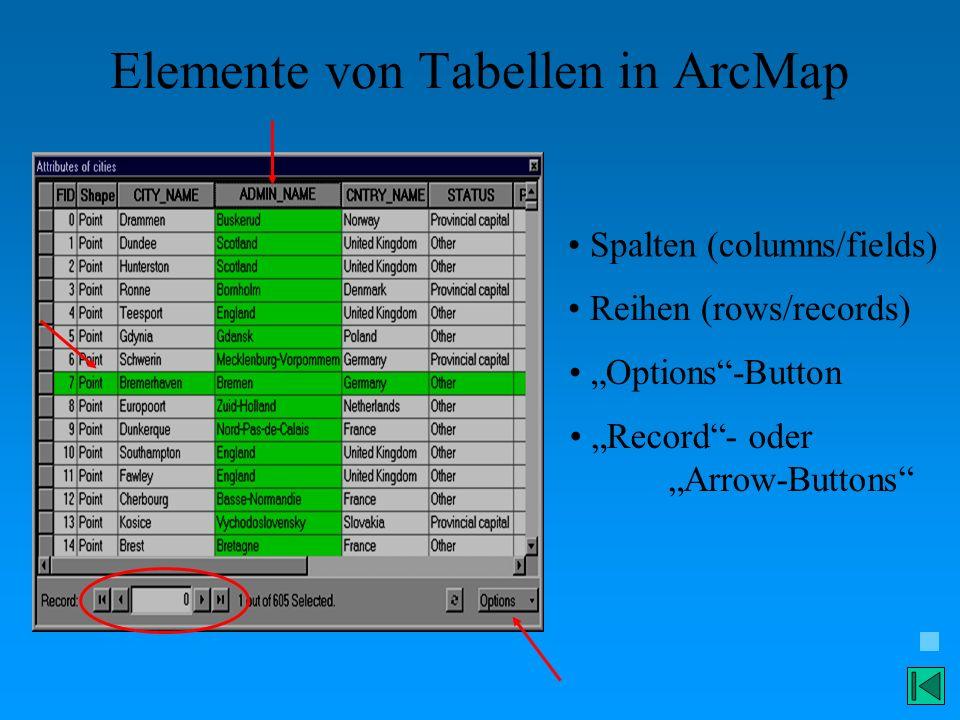 Elemente von Tabellen in ArcMap Spalten (columns/fields) Reihen (rows/records) Options-Button Record- oder Arrow-Buttons