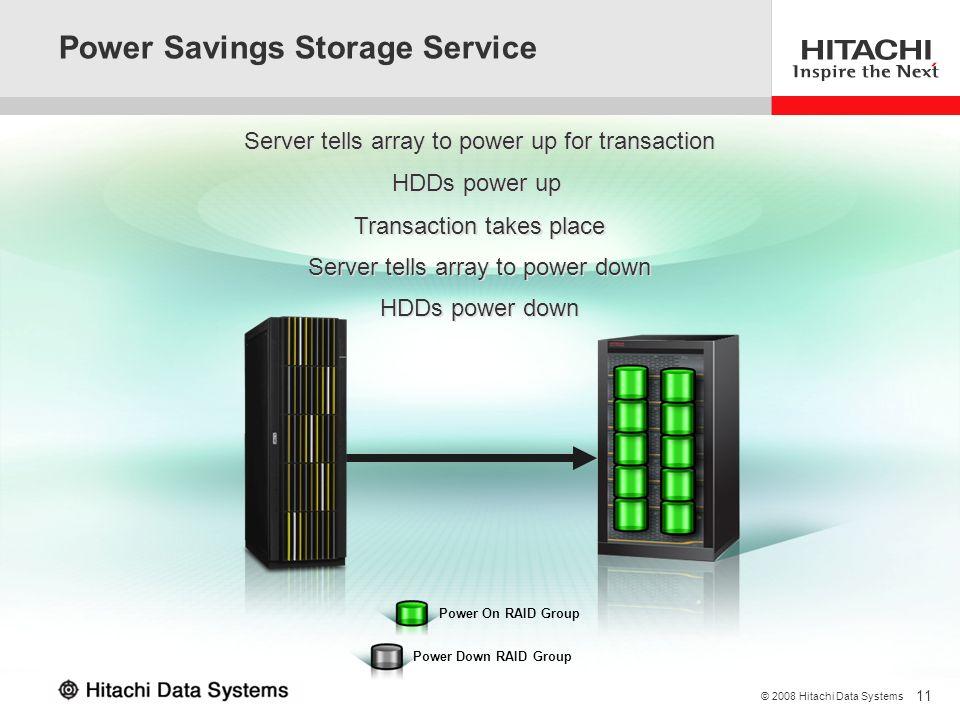 11 © 2008 Hitachi Data Systems Power Savings Storage Service Power On RAID Group Power Down RAID Group Server tells array to power up for transaction