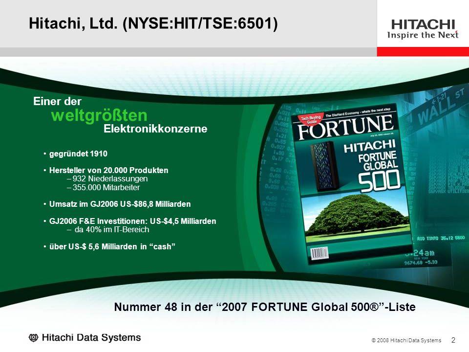 2 © 2008 Hitachi Data Systems Hitachi, Ltd. (NYSE:HIT/TSE:6501) gegründet 1910 Hersteller von 20.000 Produkten –932 Niederlassungen –355.000 Mitarbeit