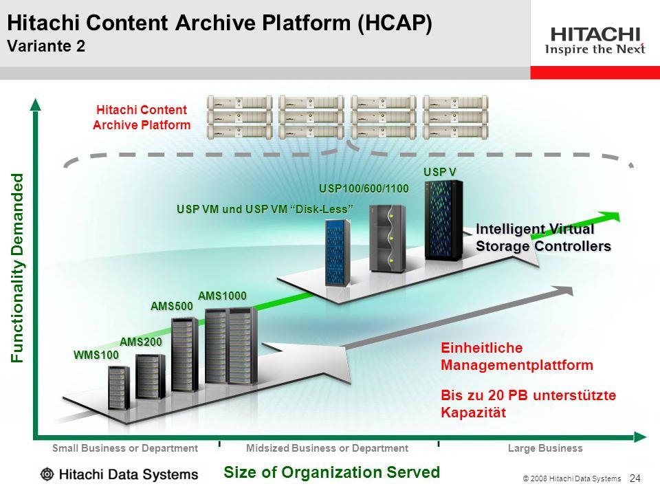 24 © 2008 Hitachi Data Systems USP VM und USP VM Disk-Less USP100/600/1100 USP V Hitachi Content Archive Platform (HCAP) Variante 2 Size of Organizati