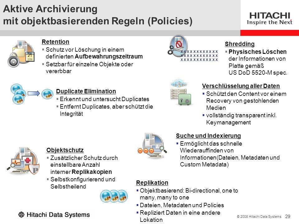 29 © 2008 Hitachi Data Systems P 21 May 21 2036 May Aktive Archivierung mit objektbasierenden Regeln (Policies) X X X X X X Retention Schutz vor Lösch