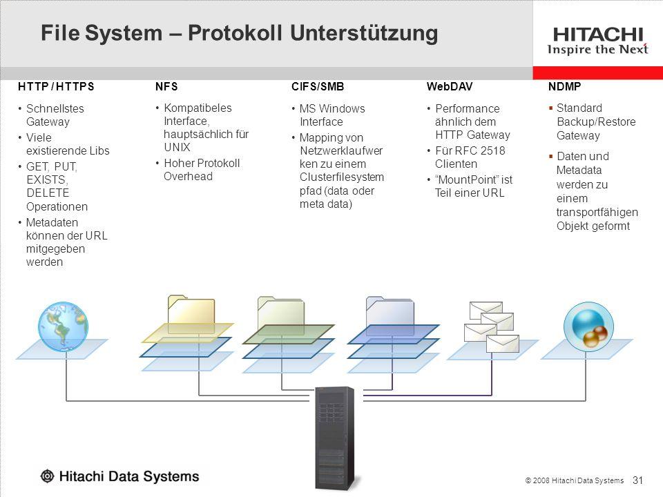31 © 2008 Hitachi Data Systems NFSWebDAVCIFS/SMBHTTP / HTTPS Performance ähnlich dem HTTP Gateway Für RFC 2518 Clienten MountPoint ist Teil einer URL