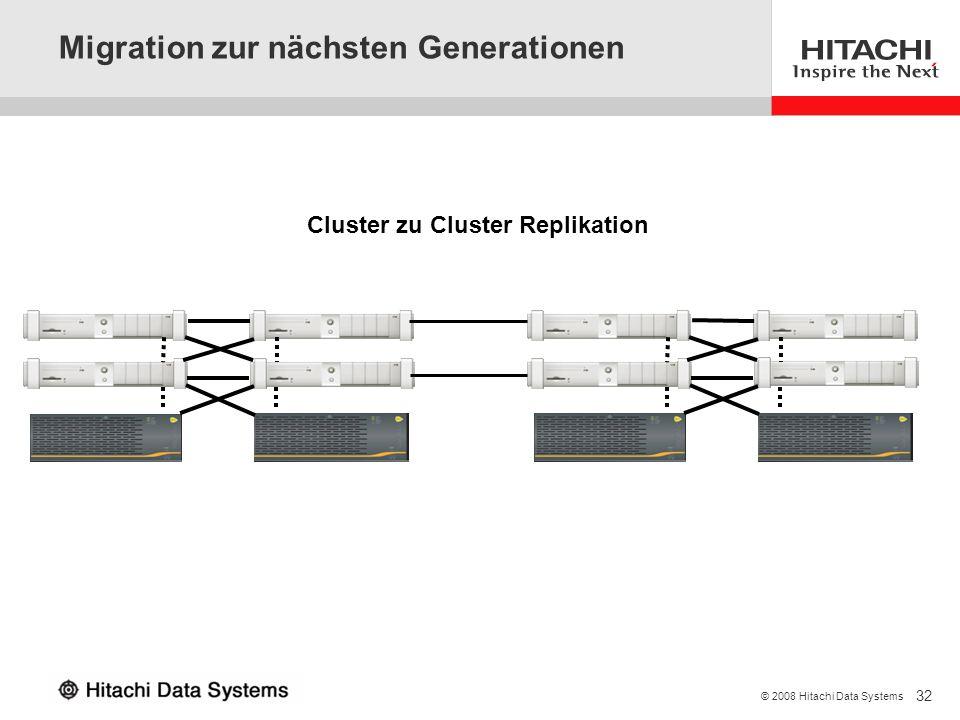 32 © 2008 Hitachi Data Systems Migration zur nächsten Generationen Cluster zu Cluster Replikation