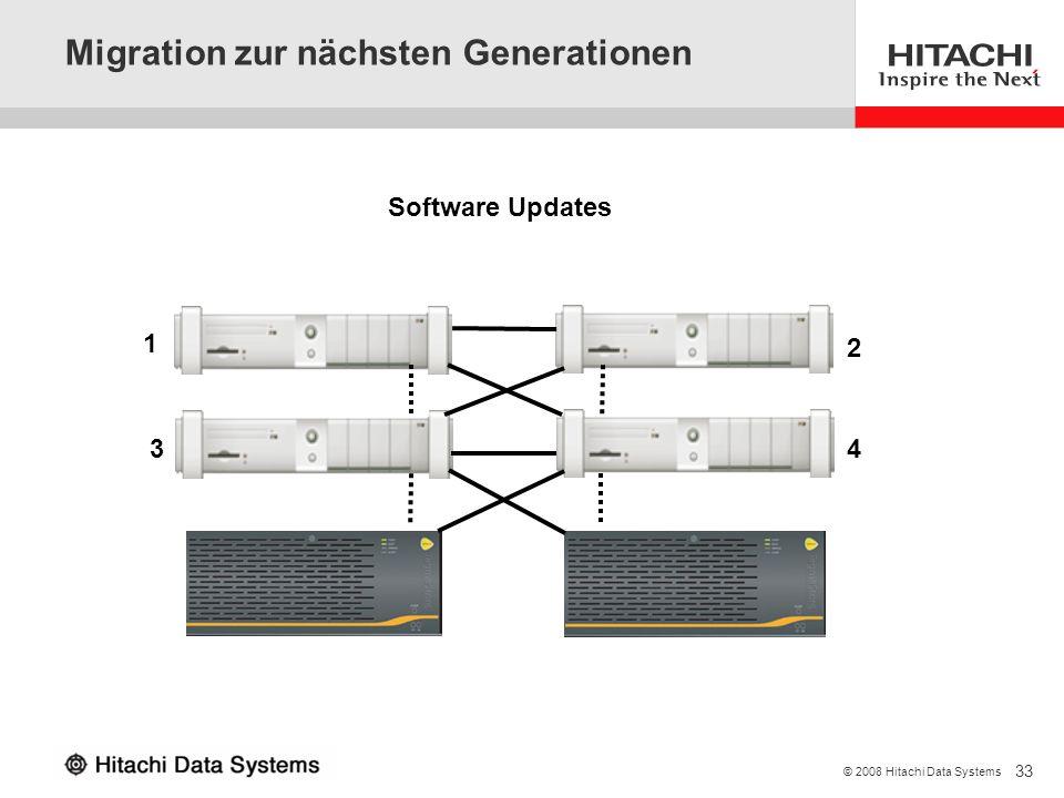 33 © 2008 Hitachi Data Systems Migration zur nächsten Generationen Software Updates 1 2 34