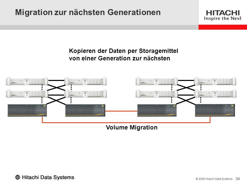 34 © 2008 Hitachi Data Systems Migration zur nächsten Generationen Volume Migration Kopieren der Daten per Storagemittel von einer Generation zur näch