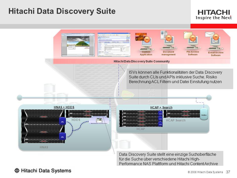 37 © 2008 Hitachi Data Systems HNAS HNAS + HDDS HDDS HCAP HCAP Search HCAP + Search Data Discovery Suite stellt eine einzige Suchoberfläche für die Su