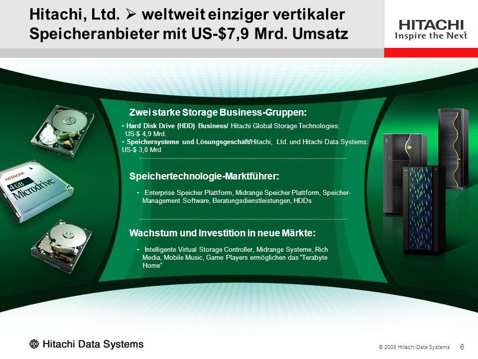 6 © 2008 Hitachi Data Systems Hitachi, Ltd. weltweit einziger vertikaler Speicheranbieter mit US-$7,9 Mrd. Umsatz Zwei starke Storage Business-Gruppen