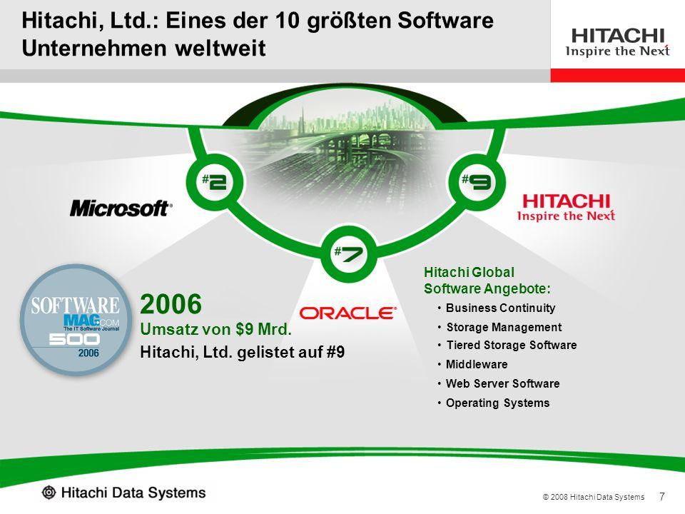 7 © 2008 Hitachi Data Systems Hitachi, Ltd.: Eines der 10 größten Software Unternehmen weltweit Source: Software Magazine Hitachi, Ltd. gelistet auf #