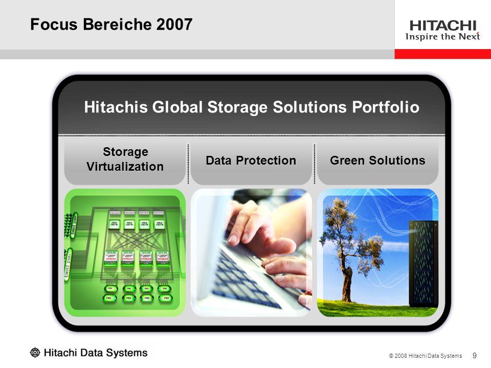 9 © 2008 Hitachi Data Systems Focus Bereiche 2007 Hitachis Global Storage Solutions Portfolio Storage Virtualization Data Protection Green Solutions