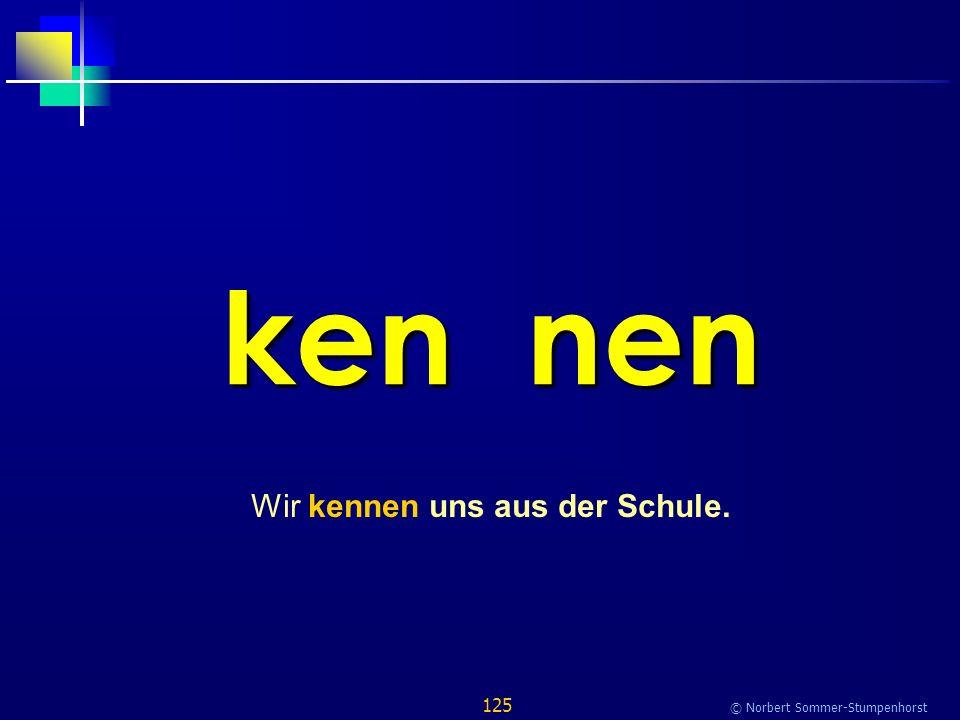 125 © Norbert Sommer-Stumpenhorst ken nen Wir kennen uns aus der Schule.