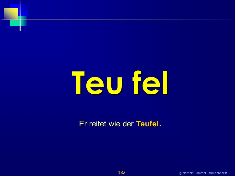 132 © Norbert Sommer-Stumpenhorst Teu fel Er reitet wie der Teufel.